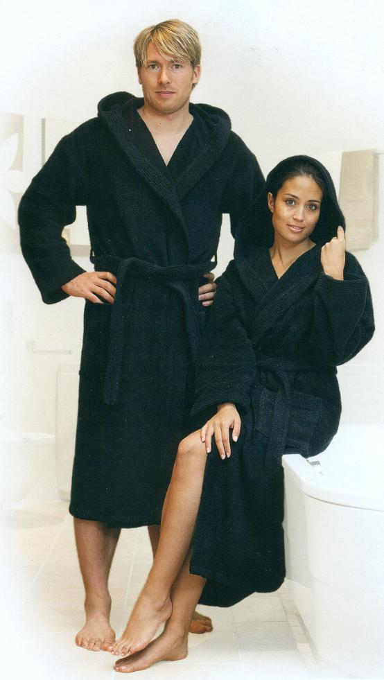 Hooded bathrobe unisex, black and many other colours terry