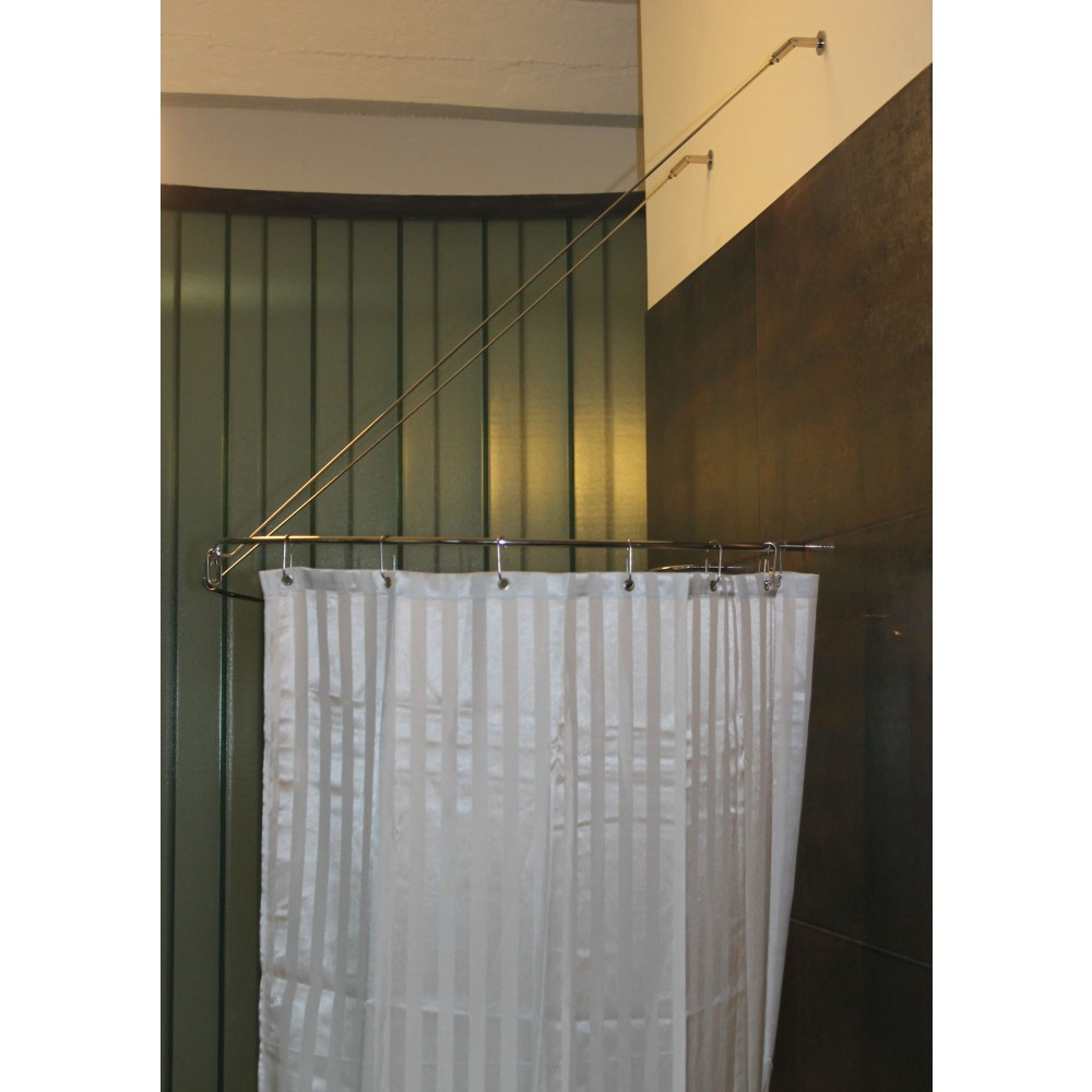 duschvorhangstange edelstahl burschberg manufaktur f r freistehende badewanne mit diagonalen. Black Bedroom Furniture Sets. Home Design Ideas