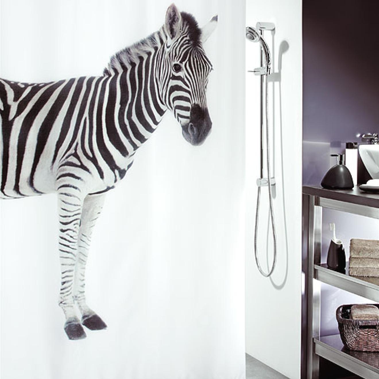 duschvorhang zebra 180x200. Black Bedroom Furniture Sets. Home Design Ideas