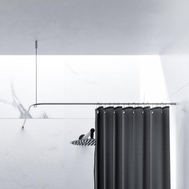 Milit/är Edelstahl Material Zidao Duschvorhangstange Duschstange Badewanne rund gebogen Duschvorhangstange Duschstange U-Form Duschstange Ecke Bad