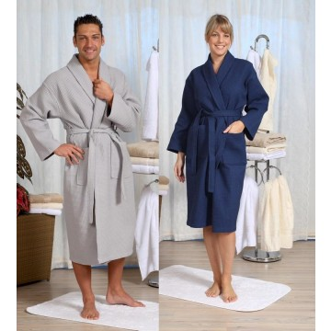 bademantel waffelpique unisex von s bis 4 xl. Black Bedroom Furniture Sets. Home Design Ideas