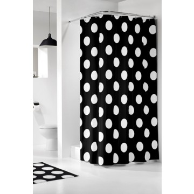 duschvorhang textilduschvorhang polkadots diverse farben. Black Bedroom Furniture Sets. Home Design Ideas