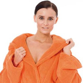 Bademantel von Egeria mit Kapuze unisex orange